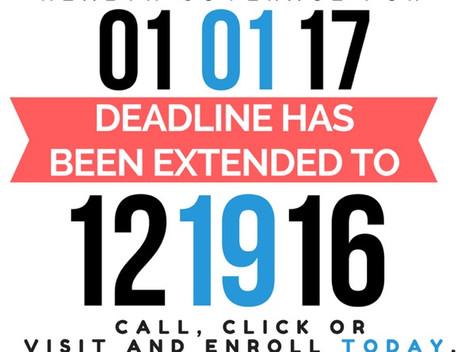 Dec 15th Health Deadline Extended