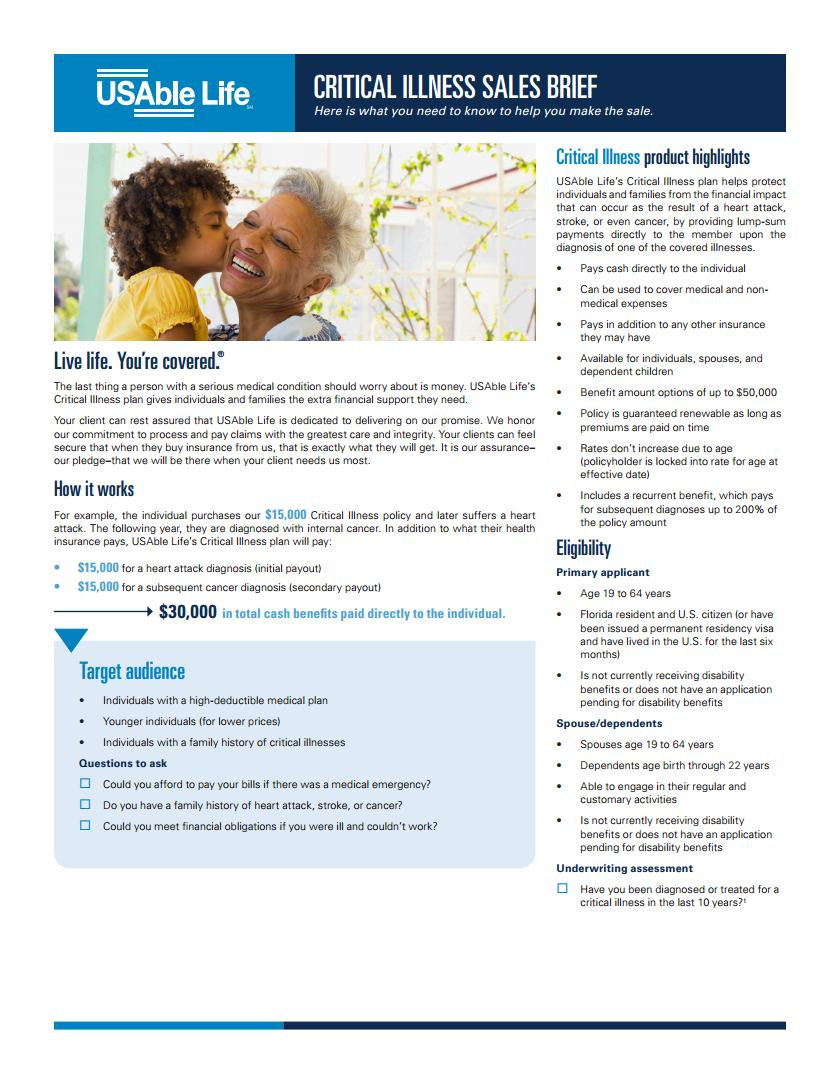 Critical Illness Plan from US Able Life and Florida Blue - Page 1