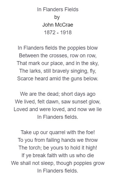 In Flanders Fields - Memorial Day