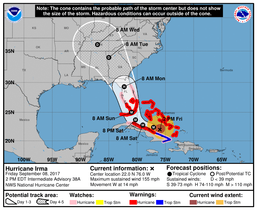 9-8-17 1pm CDT IRMA Advisory