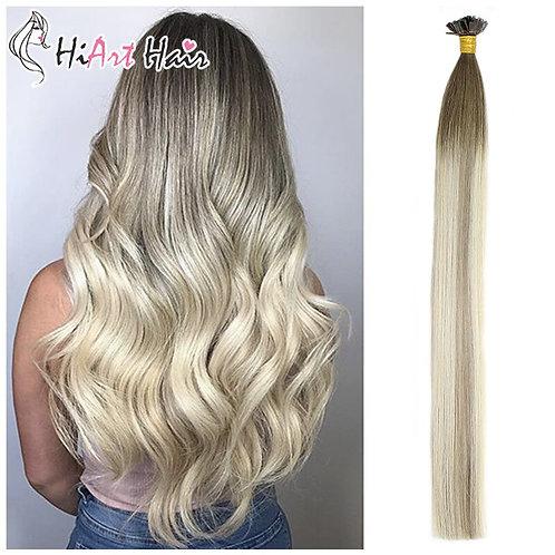Flat Tip Keratin Human Hair  Extension Straight Balayage
