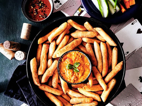 Garlic Breadsticks with a Cheesy Roasted Pimiento and Tomato Dip