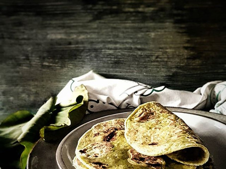 Dasheen (taro) leaf or spinach roti wrap (gluten free and vegan)