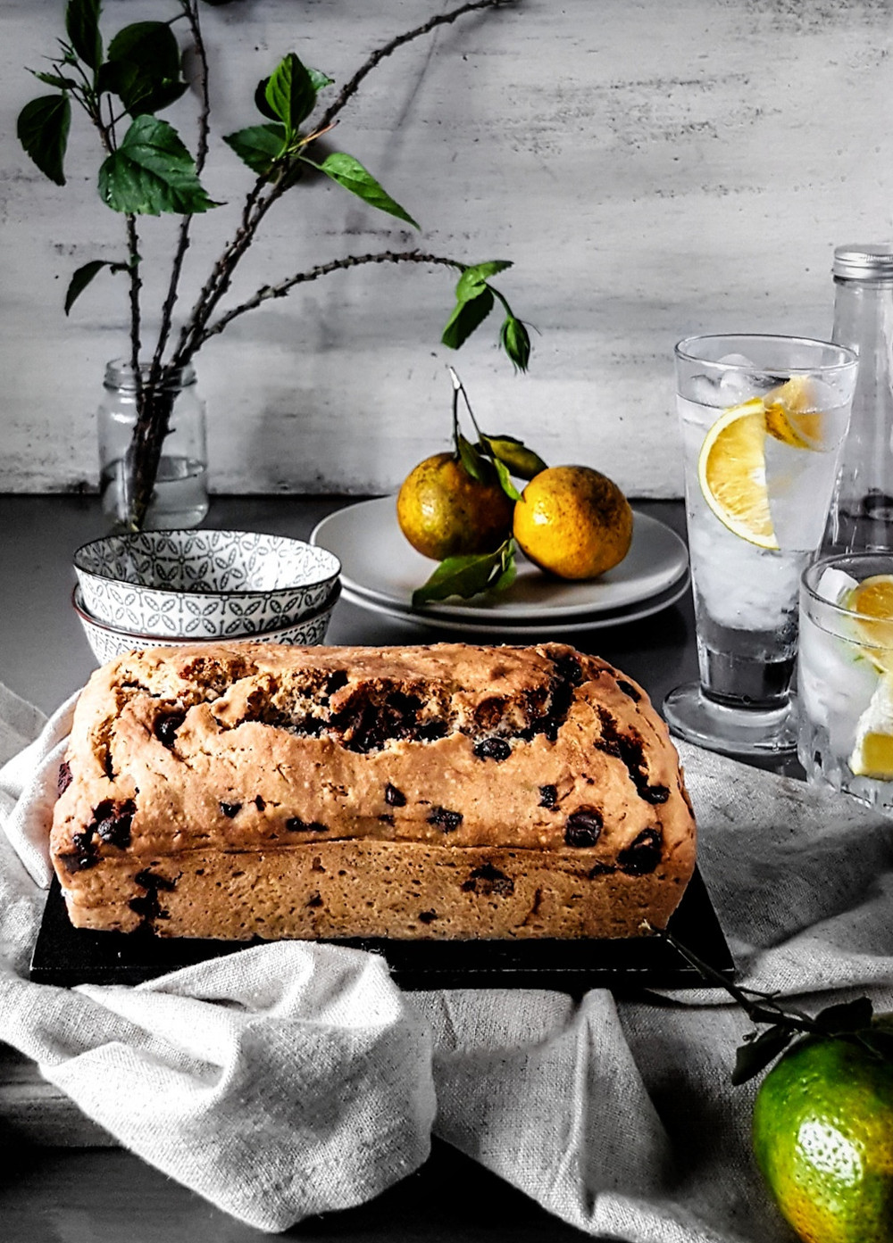 Just out of the oven, Gluten Free Vegan Lemon Chocolate Chip Loaf