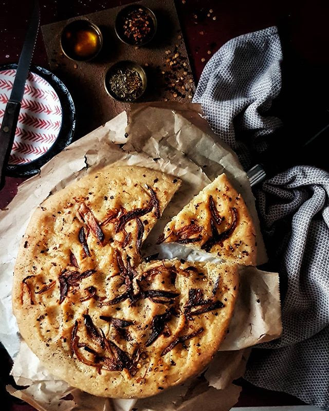 Gluten Free and Vegan Caramelized Onion Focaccia