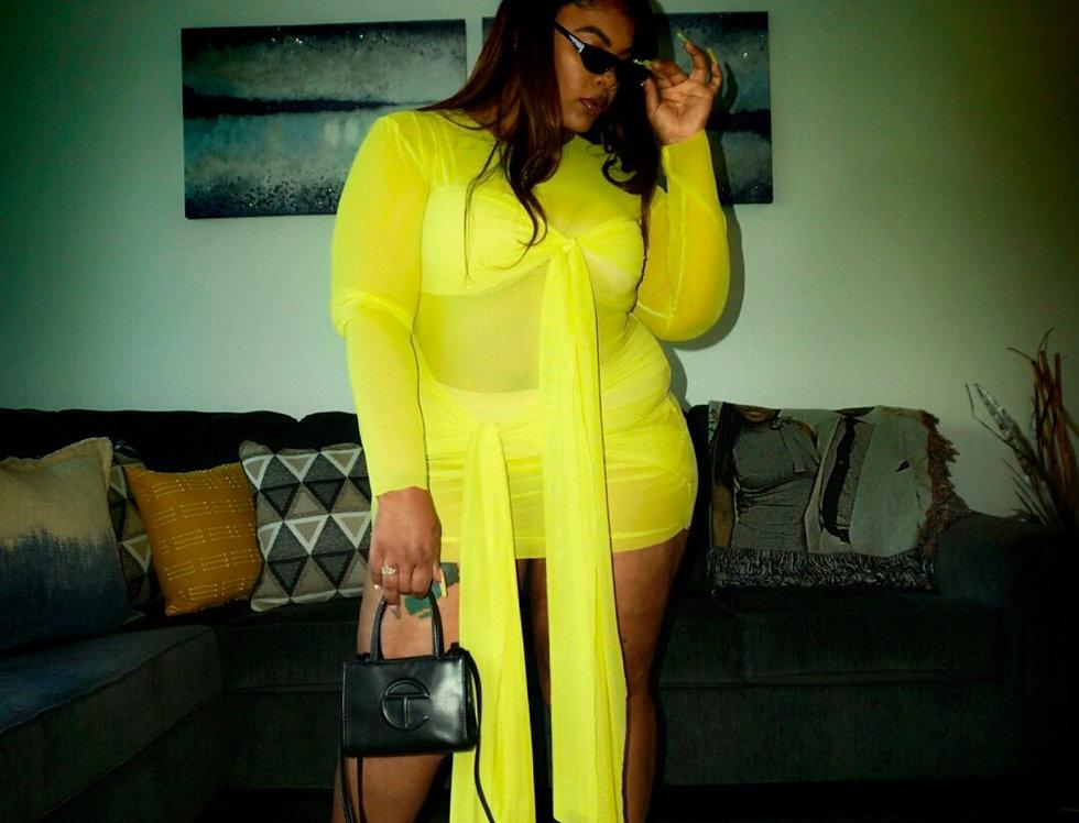 Yellow 4Way Tie Mesh Dress