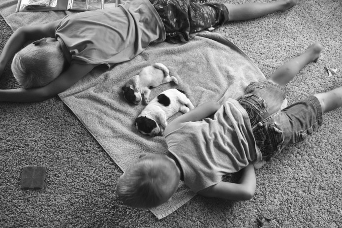 Summertime snuggles in the playroom.