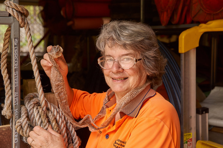 Pam & a python skin in the shed (Jan 2018)