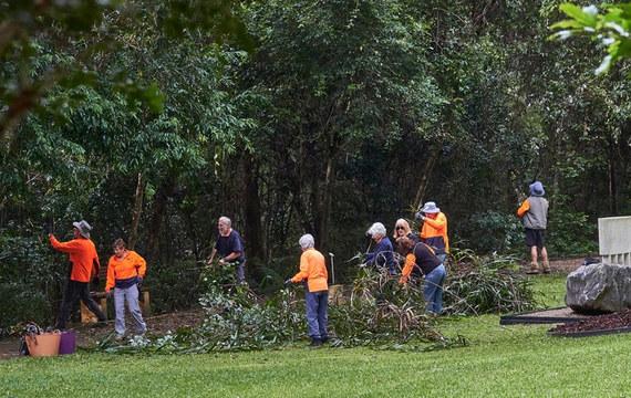 Volunteers working in the Maroochy Botanic Gardens