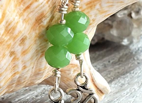 Om jade crystal bead earrings