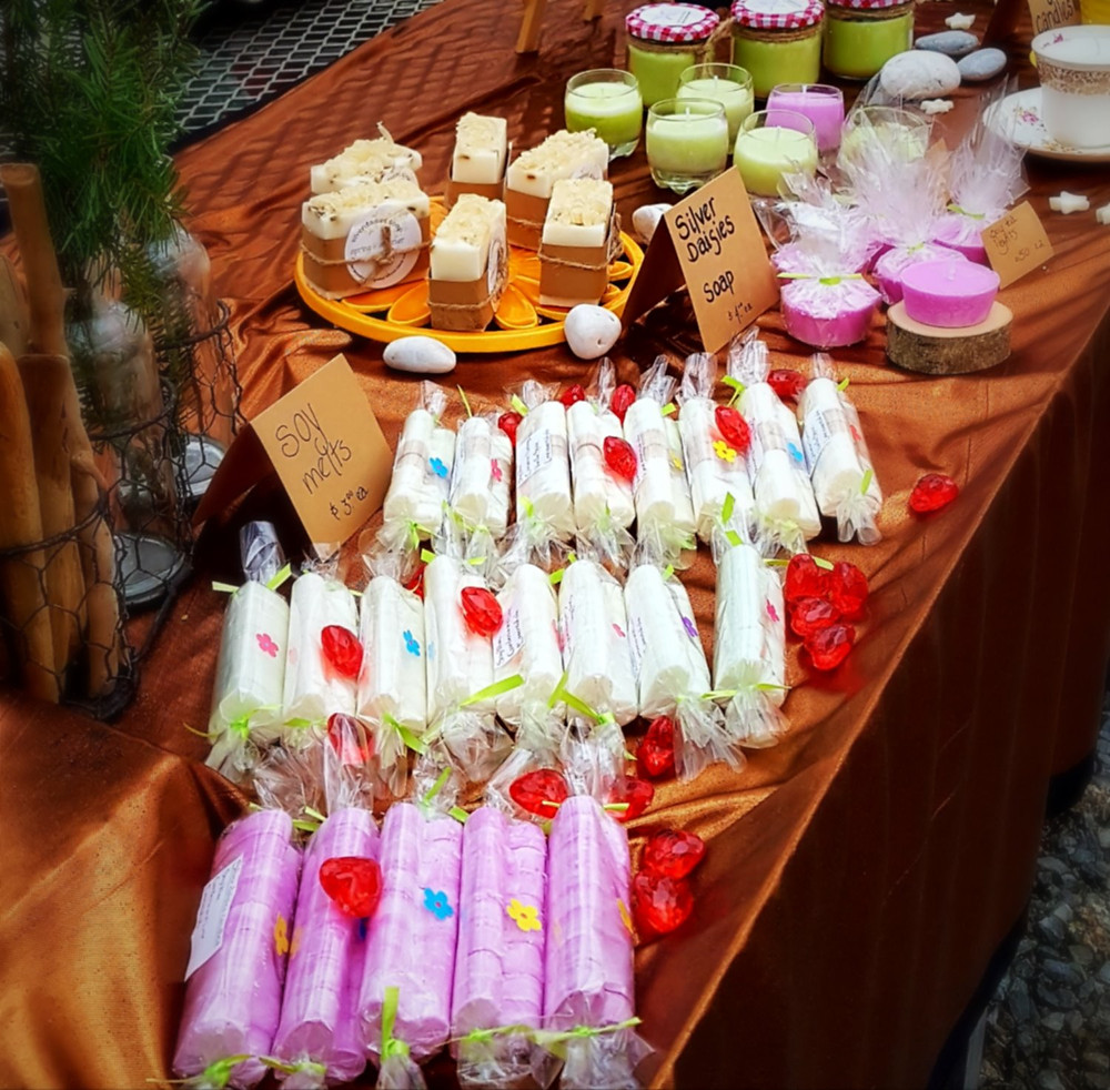 soy wax melts placed on a table at the cedarcrest market in saint john