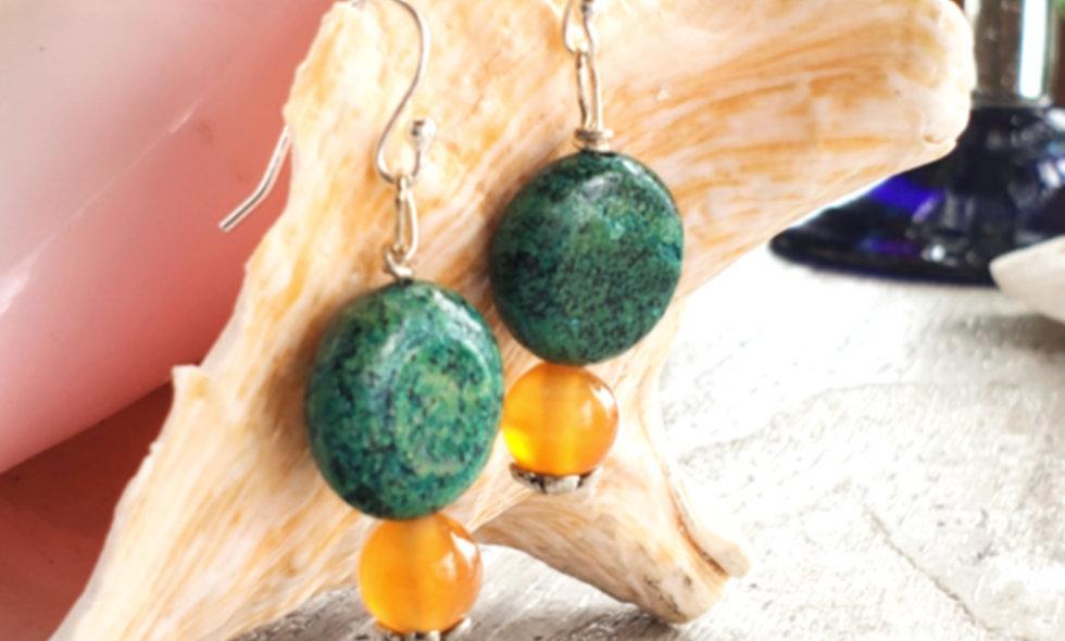 gems including tiger eye earrings on shepherd hooks