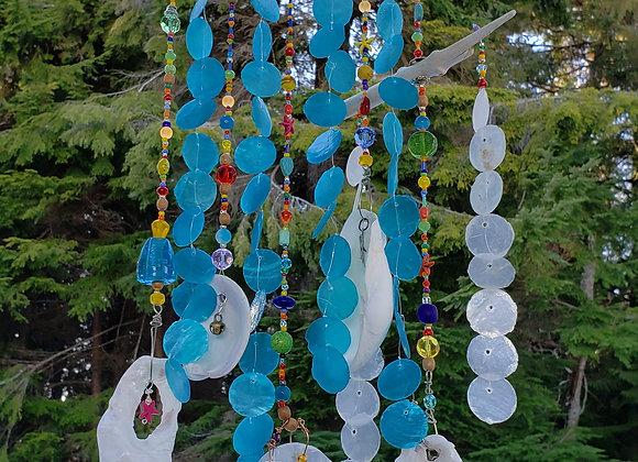 suncatcher made with driftwood, capiz shells, colorful glass beads, shells, home decor, garden decor, driftwood art