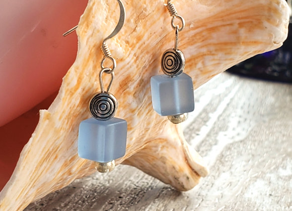 lavender beachglass square beads earrings