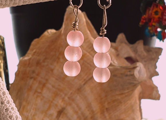 pink beachglass round beads earrings on shephard hooks