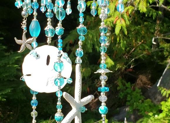 suncatcher with shells, seablue glass crystal beads, starfish, sanddollar, driftwood, decor