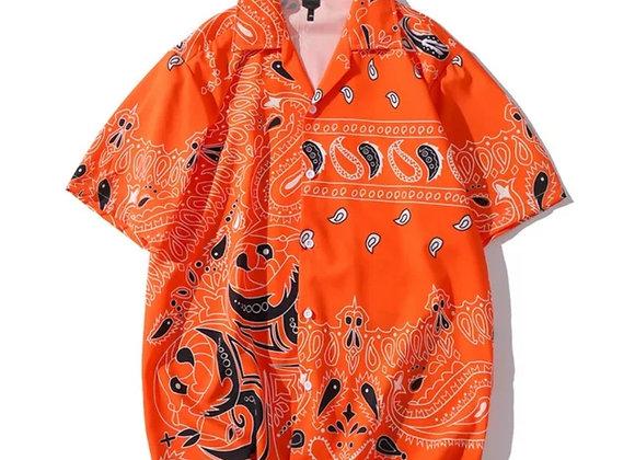 Jack O' lantern Bandana Print Shirt