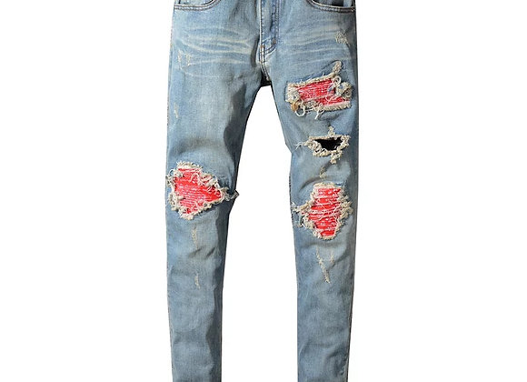 Red Bandana print denim