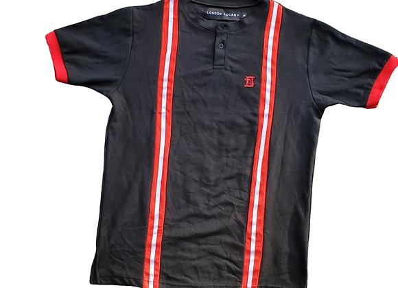 Black Bomber Collar Polo