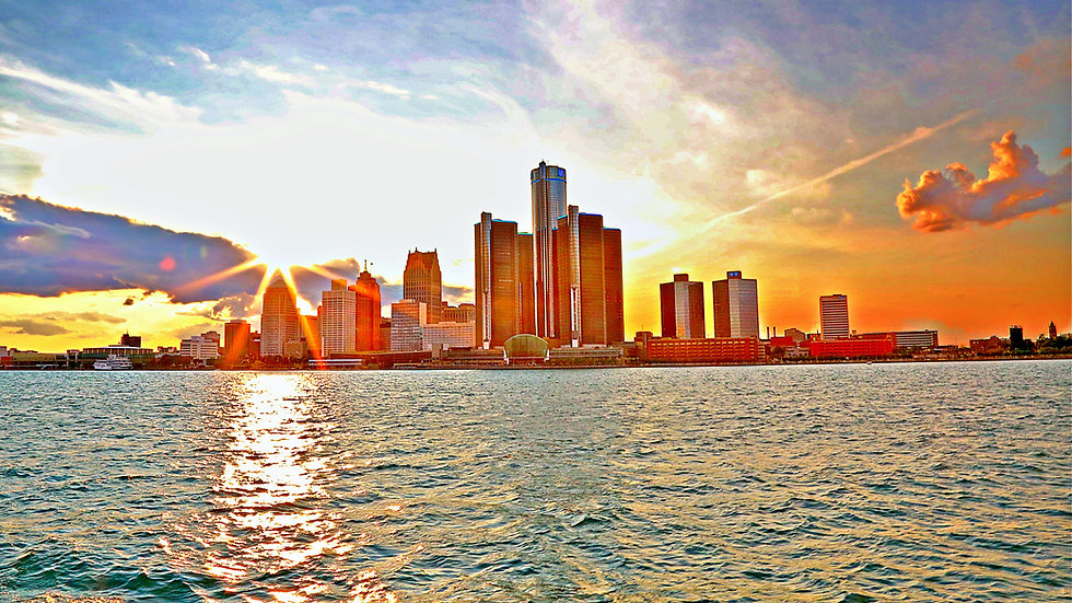 Detroit Skyline Off The River