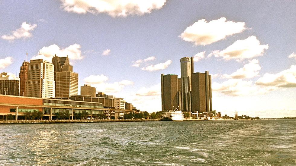 Renaissance Center From The Detroit River