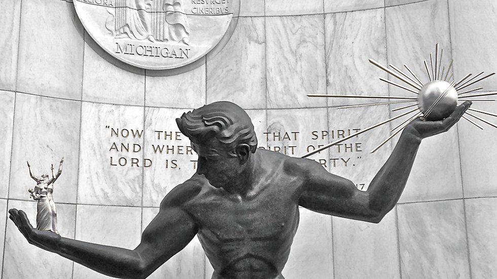 Spirit of Detroit - BW