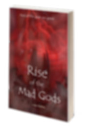 Rise of the Mad Gods book cover. A face is superimposed over a sureal landscape.