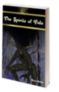 The Spirits of Yule book cover. A horned man-like creaure stands in a dark, snowy wood.