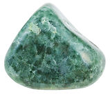 collection of various tumbled green jade mineral stones (nephrite and jadeite) isolated on