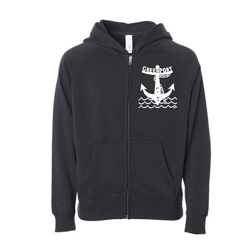 Greenport Anchor - Unisex Zip (Black)