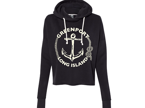 Greenport Classic Anchor Crop Hoodie 6.5 oz.