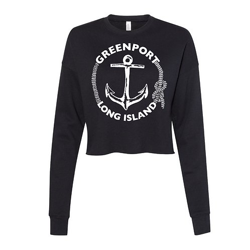 Greenport Classic Anchor Crop Sweater in Black 6.5 oz.