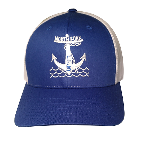 North Fork Anchor Curved Brim Trucker (Royal & White)
