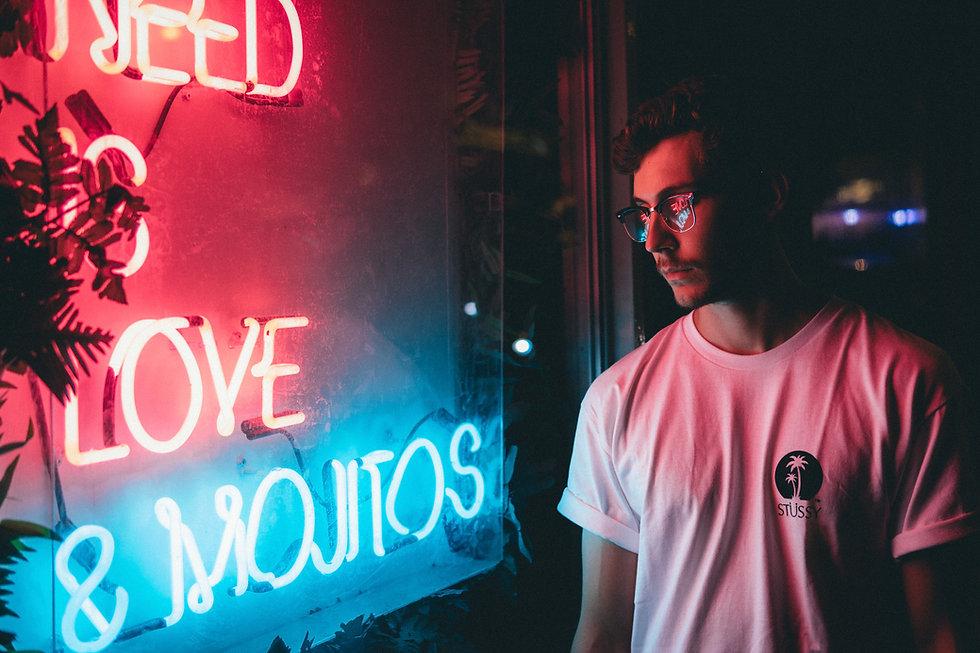 neon lights at night in street
