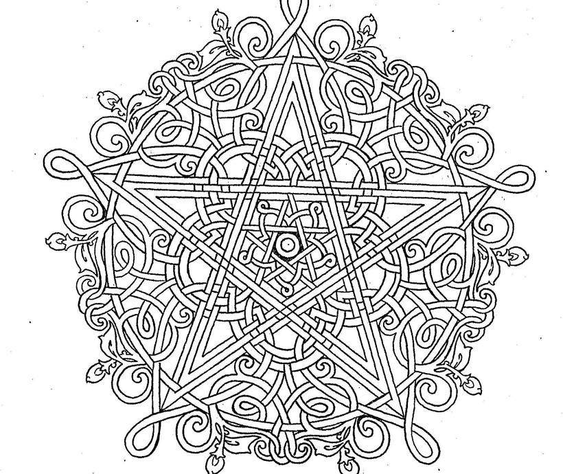 Knotwork Pentagram with Roses