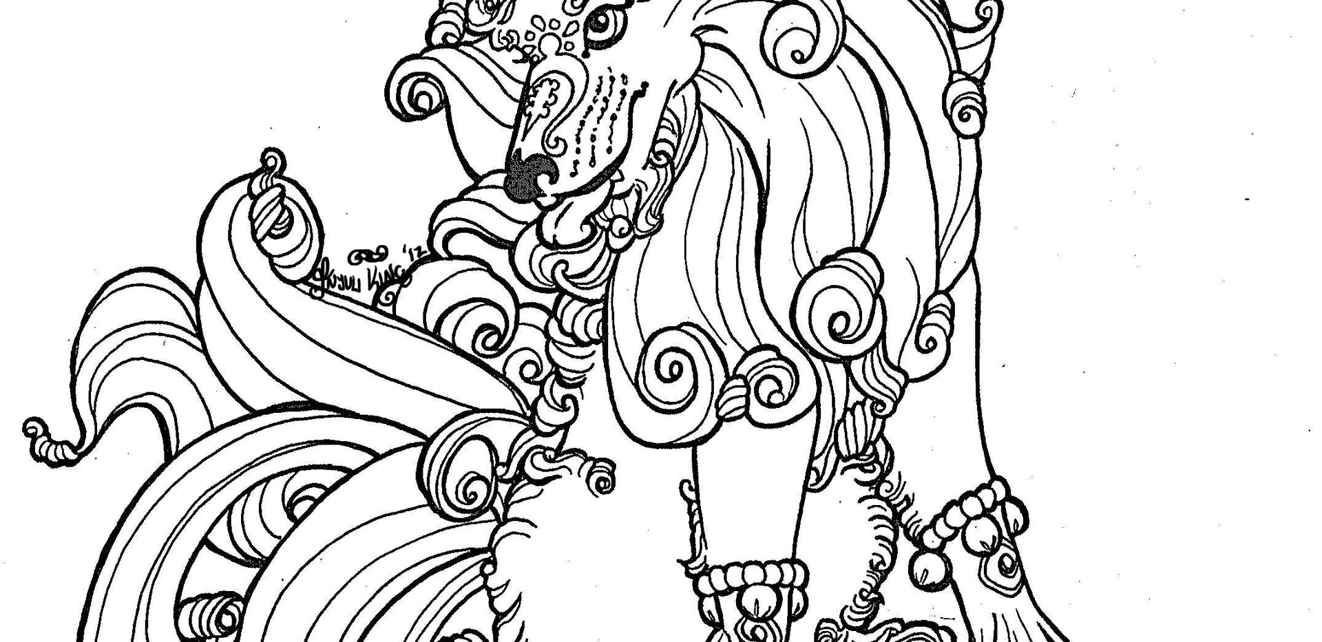 Female Winter Foo Dog Linework