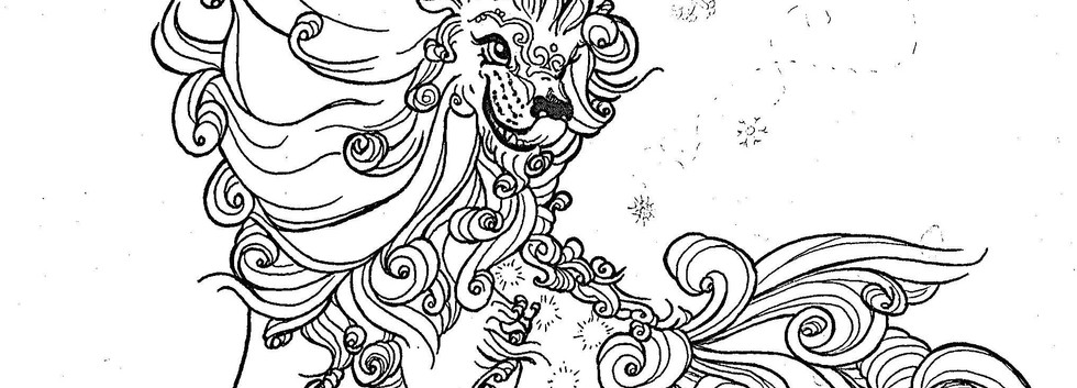 Male Winter Foo Dog Linework