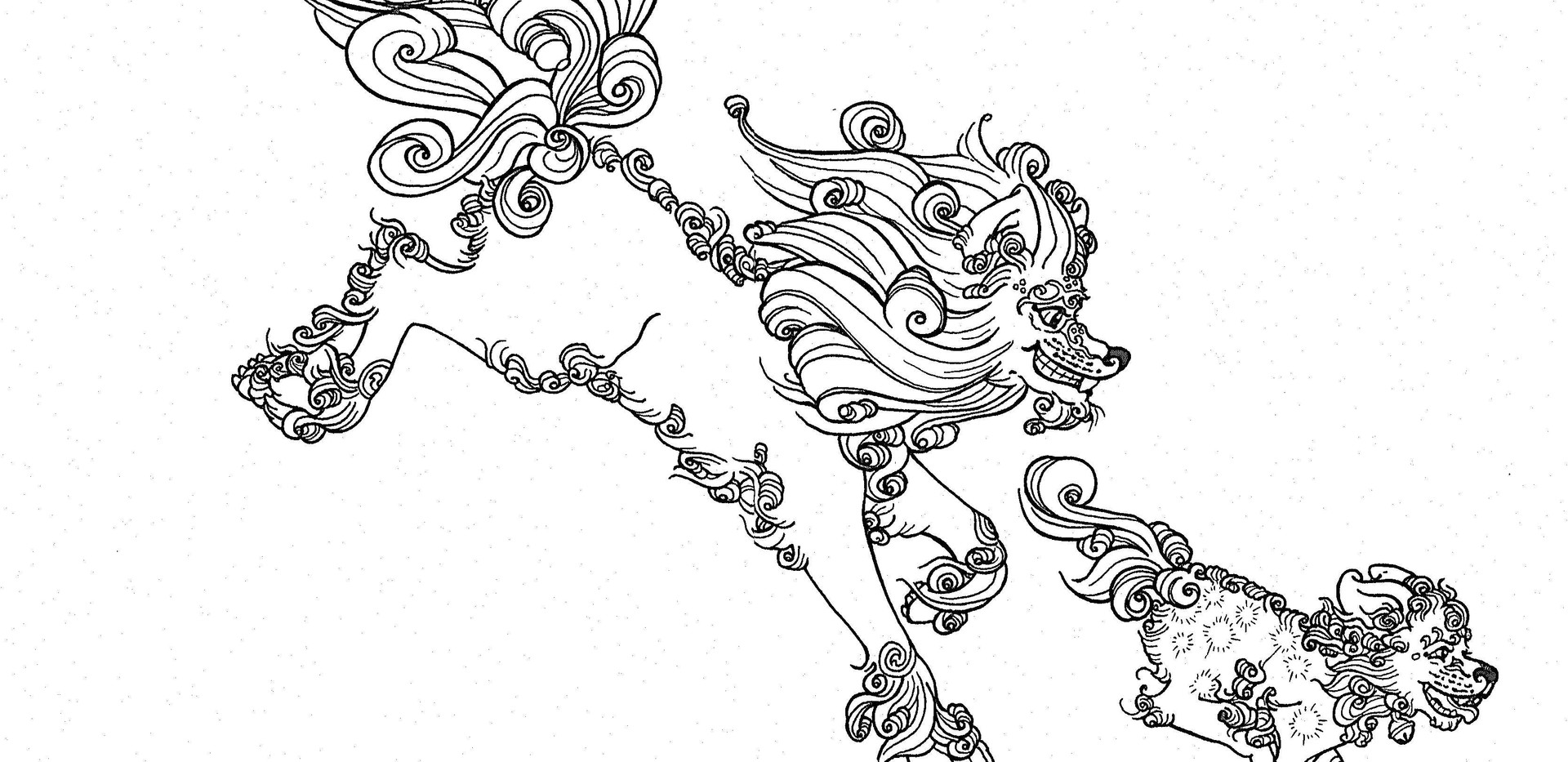 Female Autumn Foo Dog Linework