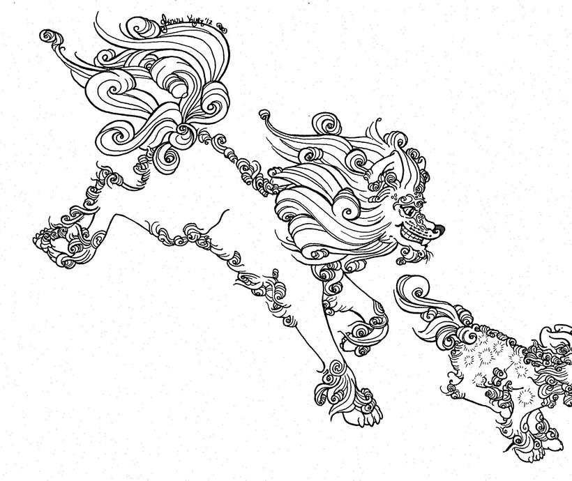 Female Autumn Foo Dog Linework