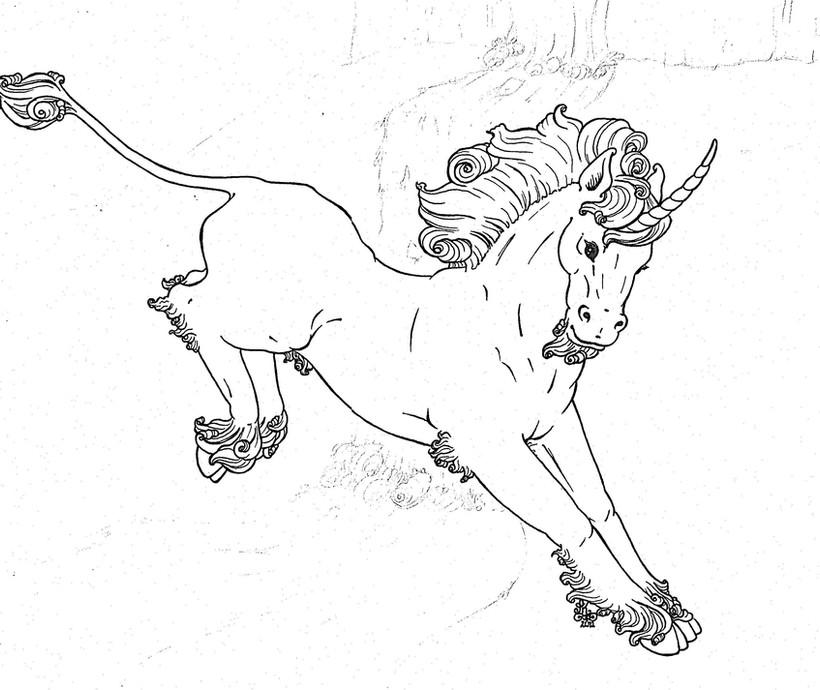 Leaping Unicorn Linework