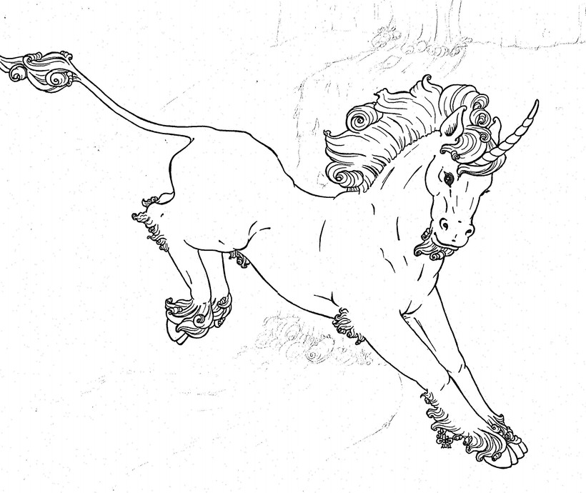 Unicorn Leaping BW.jpg