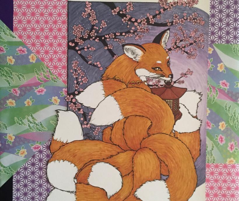 Snow Blossom Kitsune