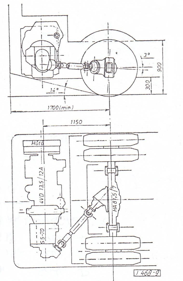 A végleges megoldás a 6. változat szerinti keresztmotoros hajtáslánc volt, a sebességváltóra és a hátsó hídra épített szöghajtóművel. Ábra: [1]