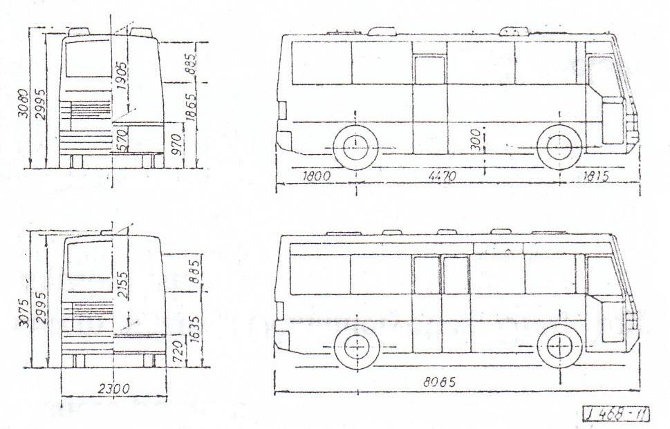 A távolsági 545-ös és a városi 544-es típuspár fő méretei. Ábra: [1]