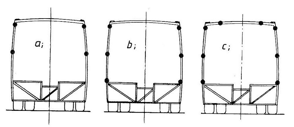 Négy-, hat- és nyolc képlékeny csuklót tartalmazó vázszerkezet szegmens modellek. Ábra: [8]