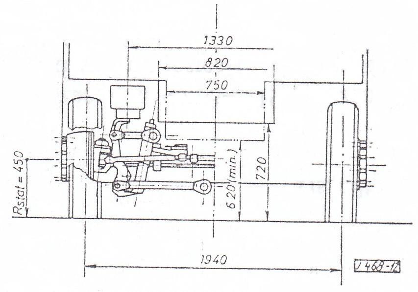 Az IFA L60 kerékszerkezettel kialakított független felfüggesztésű mellső futómű.  Ábra: [1]