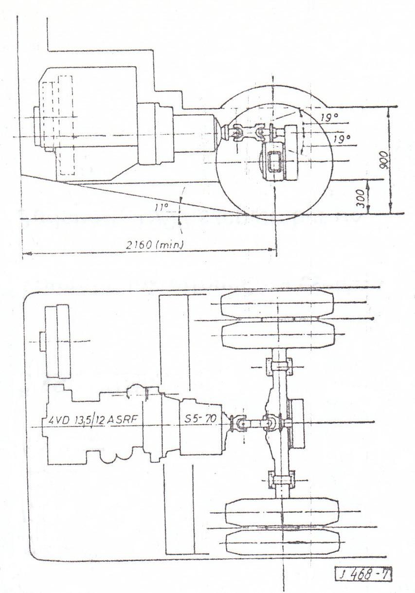 A 4-es ötlet hosszirányú motort, váltót és a hátsóhídra épített fordítóművet tartalmazott. Ábra: [1]