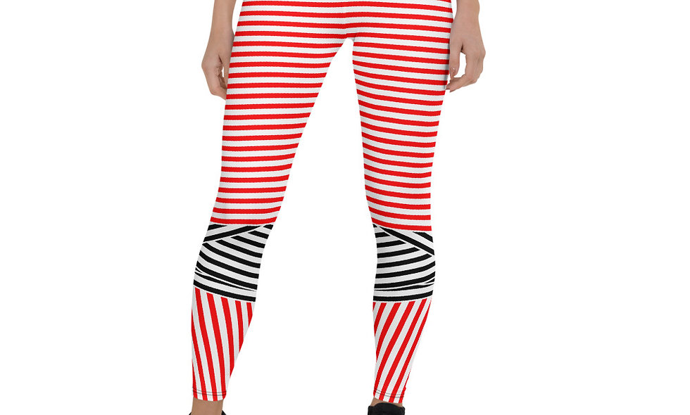 Red, White, and Black Abstract Diagonal Leggings for Women