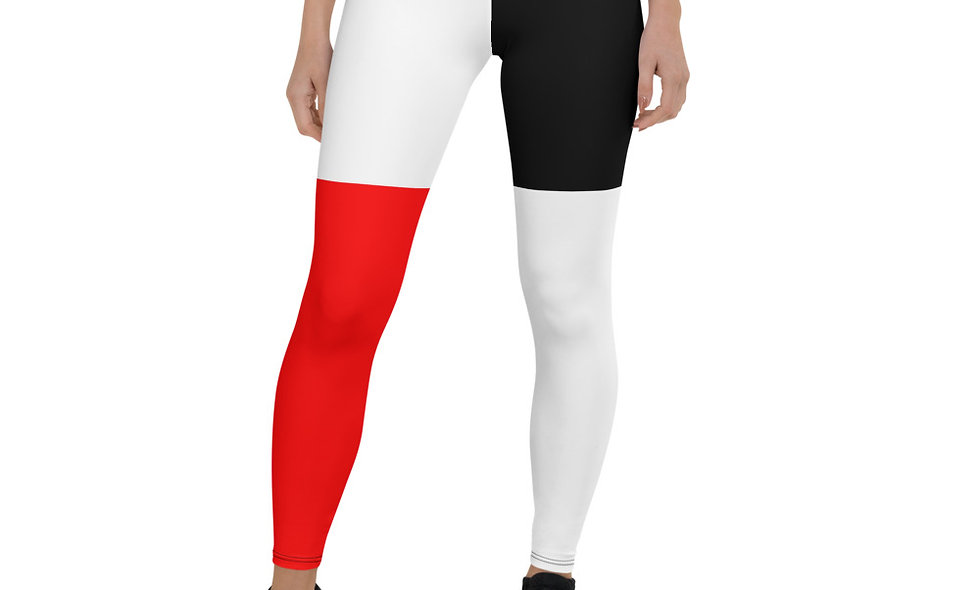 Red White and Black Abstract Block Leggings for Women