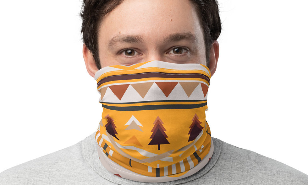 Stylish Ethnic Pattern in Yellow Tone Neck Gaiter